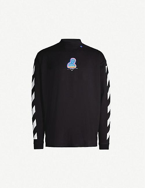 40b1ec75 OFF-WHITE C/O VIRGIL ABLOH Thermo striped-sleeve logo-print cotton