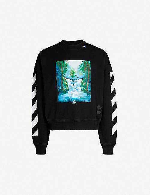 17c46607 OFF-WHITE C/O VIRGIL ABLOH Waterfall logo-print cotton-jersey sweatshirt