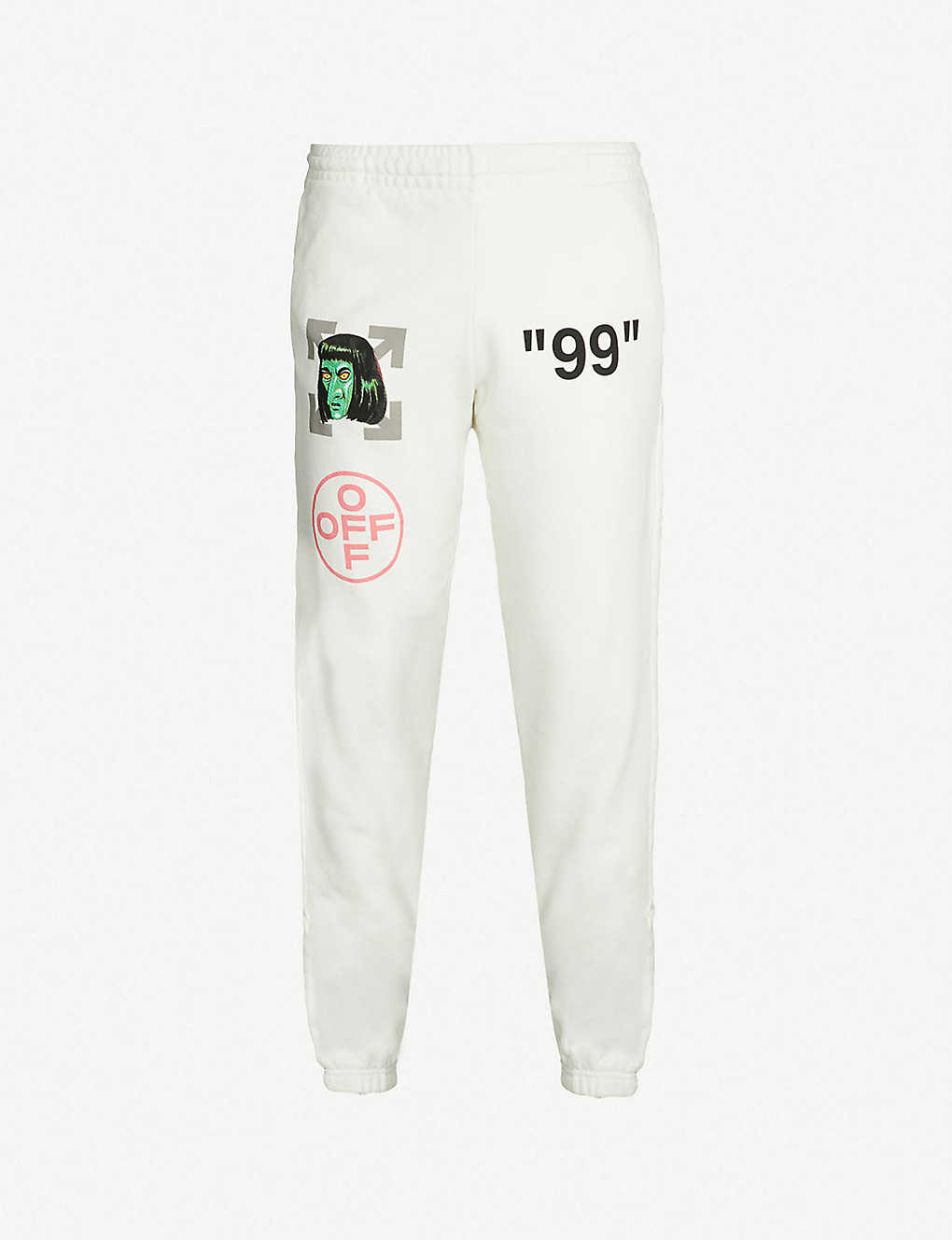945e40fd OFF-WHITE C/O VIRGIL ABLOH - Green Man-print cotton-jersey jogging bottoms  | Selfridges.com