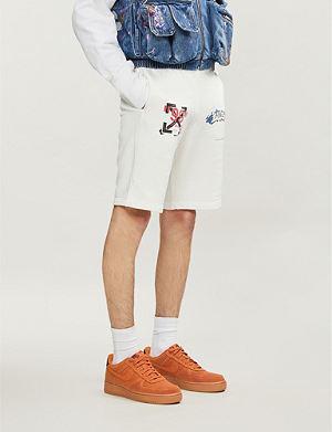 a212032c71e3 OFF-WHITE C O VIRGIL ABLOH Logo-print cotton-jersey shorts