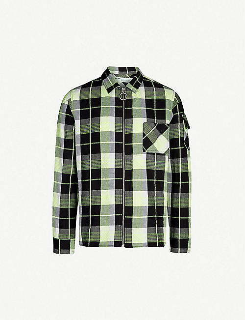 OFF-WHITE C/O VIRGIL ABLOH Regular-fit printed checked cotton and linen-blend shirt
