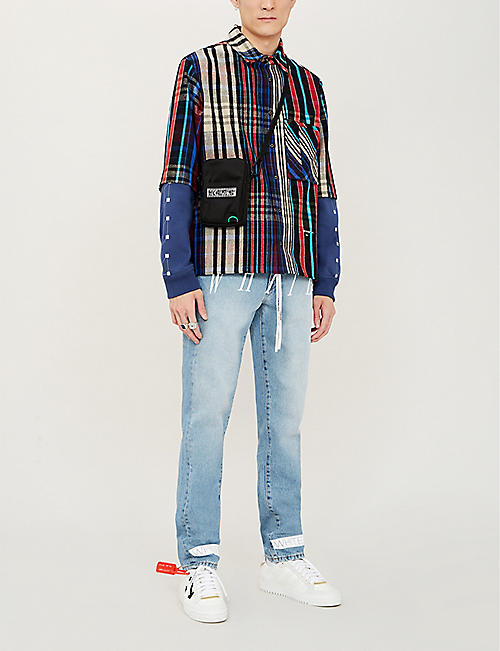 OFF-WHITE C/O VIRGIL ABLOH Jersey-sleeve layered checked cotton-blend shirt