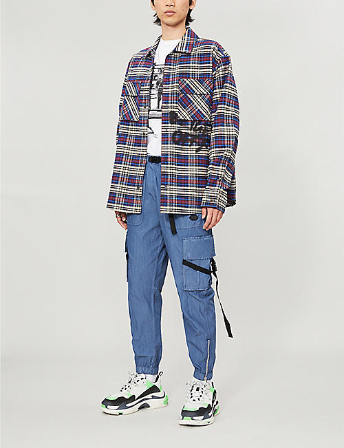 OFF-WHITE C/O VIRGIL ABLOH Checked oversized cotton-blend overshirt
