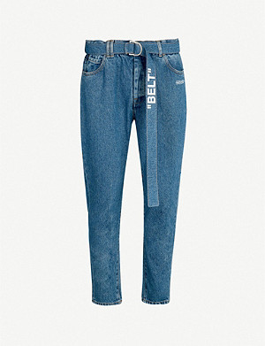 OFF-WHITE C/O VIRGIL ABLOH Belted slim-fit tapered jeans