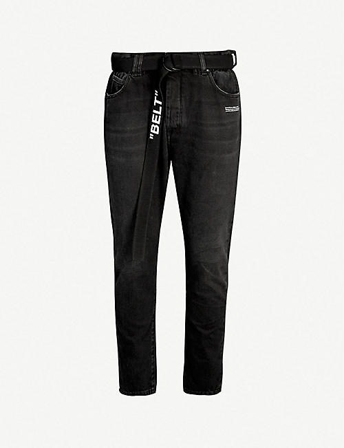 b78fb1fd42aa OFF-WHITE C O VIRGIL ABLOH Belted slim-fit tapered jeans