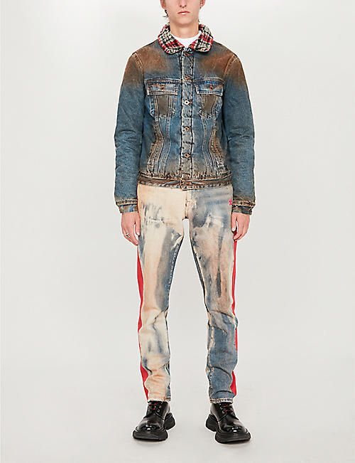 OFF-WHITE C/O VIRGIL ABLOH Shearling-collar faded denim jacket