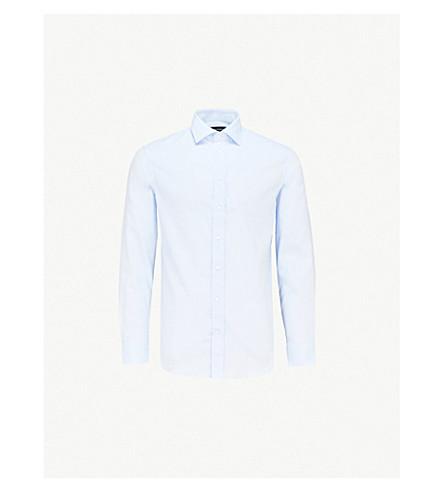 089a2d84 EMPORIO ARMANI Micro-diamond-pattern modern-fit cotton-poplin shirt (Sky