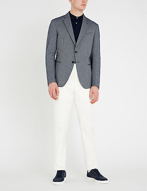 EMPORIO ARMANI Slim-fit cotton-linen blend blazer