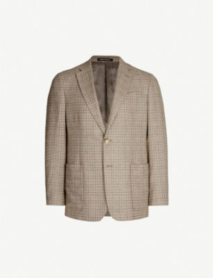 EMPORIO ARMANI Regular-fit silk and wool-blend jacket