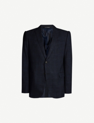 EMPORIO ARMANI Regular-fit checked wool, silk and linen-blend blazer