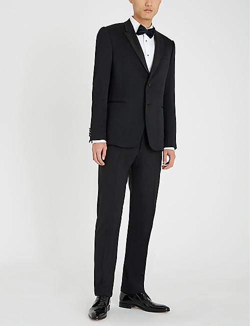 EMPORIO ARMANI Patterned satin lapel wool-blend tuxedo jacket