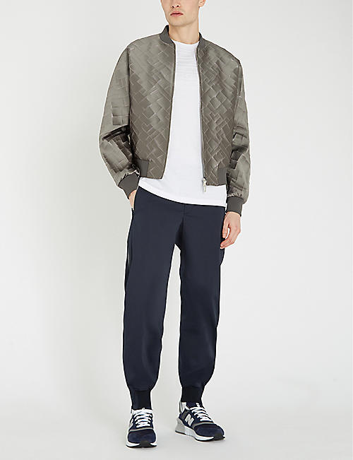 EMPORIO ARMANI Embroidered sateen bomber jacket