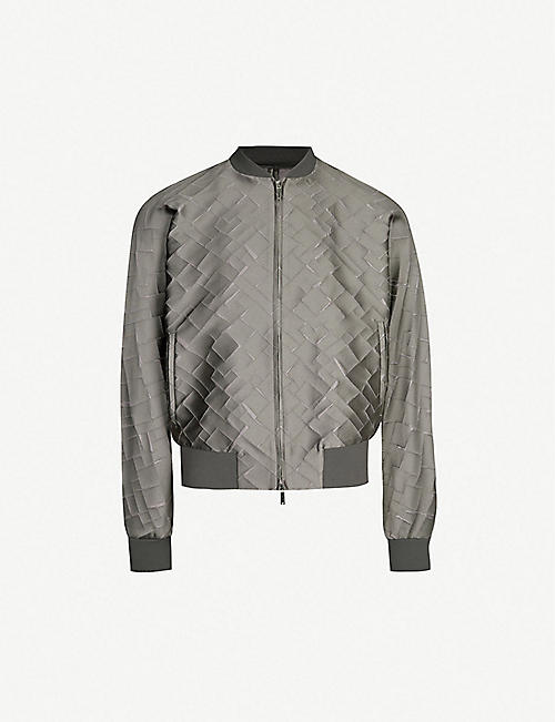 20178658322 EMPORIO ARMANI Embroidered sateen bomber jacket