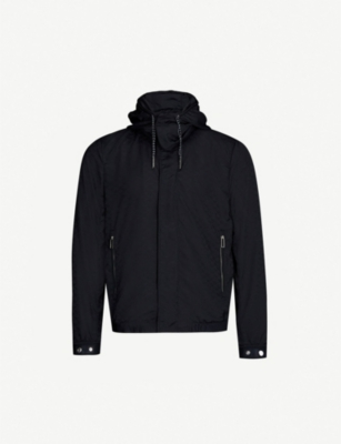 EMPORIO ARMANI Logo-covered drawstring-hood shell jacket