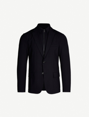 EMPORIO ARMANI Detachable-insert slim-fit stretch-wool blazer