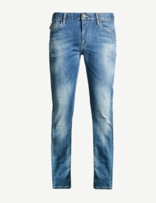 EMPORIO ARMANI Faded wash slim-fit, straight-leg jeans