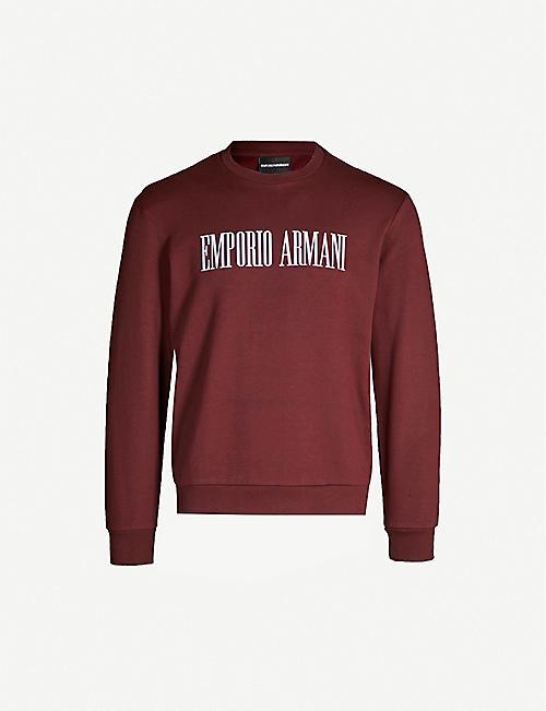 3a28663b EMPORIO ARMANI Text-print cotton-blend sweatshirt