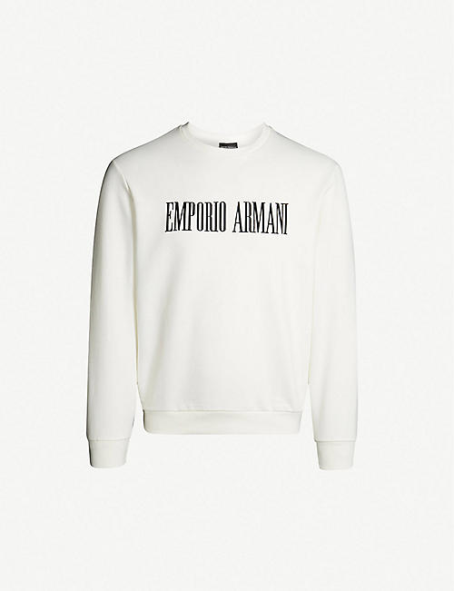 EMPORIO ARMANI Text-print cotton-blend sweatshirt 7ed950e4a4d