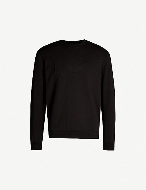 afec2d01ff14 EMPORIO ARMANI Logo-embossed stretch-cotton sweatshirt