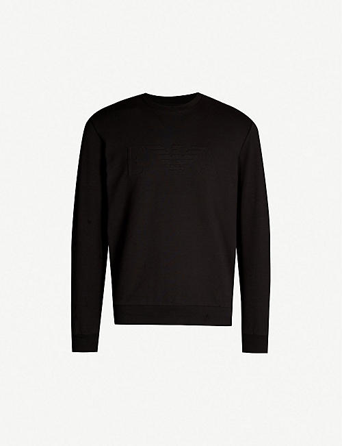 ec7143cef172 EMPORIO ARMANI Logo-embossed stretch-cotton sweatshirt