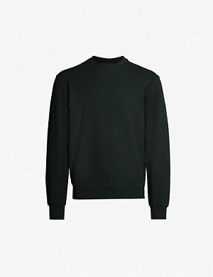 EMPORIO ARMANI Logo-embossed stretch-cotton sweatshirt