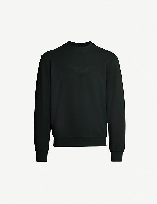 5de57905e42a21 EMPORIO ARMANI Logo-embossed stretch-cotton sweatshirt
