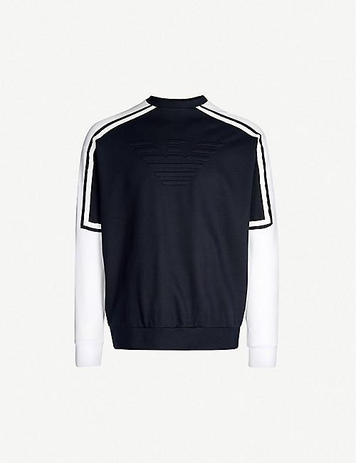 c2a88ff5 EMPORIO ARMANI Contrast sleeve stretch-jersey sweatshirt