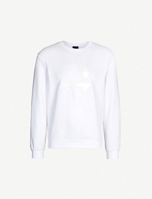 a5d788ee3b8b EMPORIO ARMANI Emoji-appliqué cotton-jersey sweatshirt