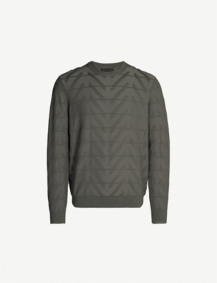 EMPORIO ARMANI Zigzag embossed knitted jumper