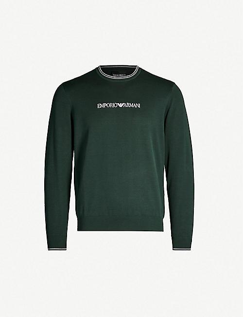 44ea75ce242 EMPORIO ARMANI Logo-embroidered cotton jumper