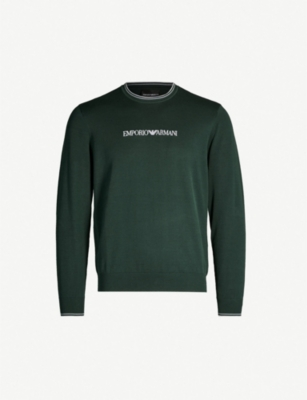 EMPORIO ARMANI Logo-embroidered cotton jumper