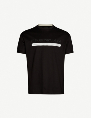 EMPORIO ARMANI Embroidered logo-print cotton-jersey T-shirt