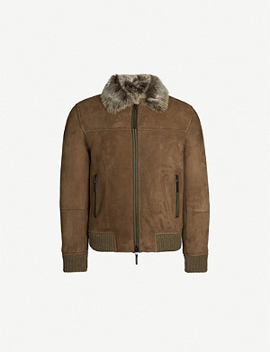 EMPORIO ARMANI Suede and shearling bomber jacket