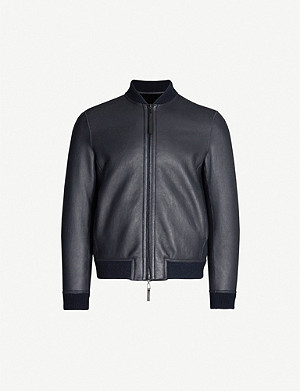 EMPORIO ARMANI Reversible shearling leather and wool-blend bomber jacket