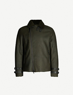 EMPORIO ARMANI Shearling-lined leather jacket