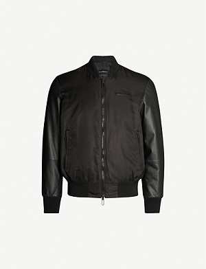 EMPORIO ARMANI Leather and satin bomber jacket