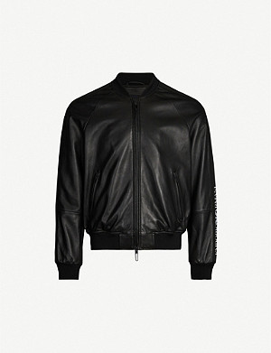 EMPORIO ARMANI Logo-tape leather bomber jacket