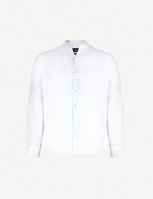 EMPORIO ARMANI Collarless modern-fit cotton-blend shirt