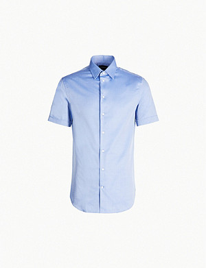 EMPORIO ARMANI Short-sleeved modern-fit cotton shirt