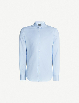 EMPORIO ARMANI Woven micro pattern slim-fit cotton-twill shirt