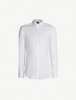 EMPORIO ARMANI Slim-fit cotton-twill oxford shirt