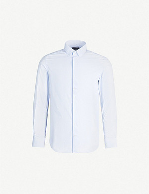 EMPORIO ARMANI Striped slim-fit cotton shirt