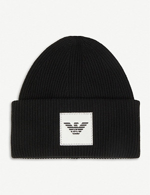 EMPORIO ARMANI Logo-path ribbed wool-blend beanie hat