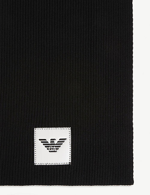 EMPORIO ARMANI Logo patch ribbed wool-blend scarf