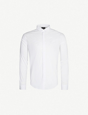 EMPORIO ARMANI Logo-embroidered regular-fit cotton shirt