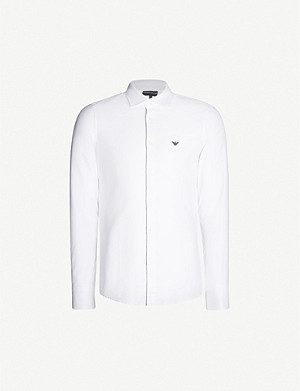 EMPORIO ARMANI Logo-embroidered regular-fit cotton-twill shirt