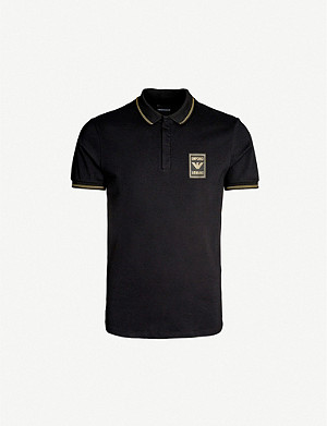 EMPORIO ARMANI Logo-embroidered stretch-cotton polo shirt