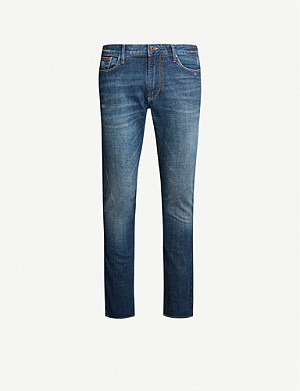 EMPORIO ARMANI Washed slim-fit straight jeans