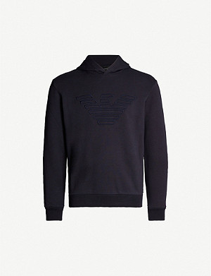 EMPORIO ARMANI Logo-piped cotton-jersey hoody