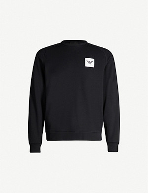 EMPORIO ARMANI Logo-appliqué cotton-blend sweatshirt